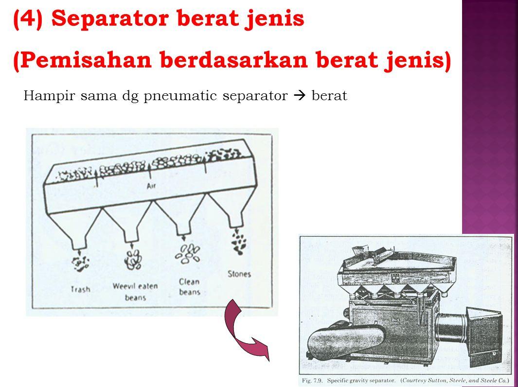 (4) Separator berat jenis (Pemisahan berdasarkan berat jenis) Hampir sama dg pneumatic separator  berat