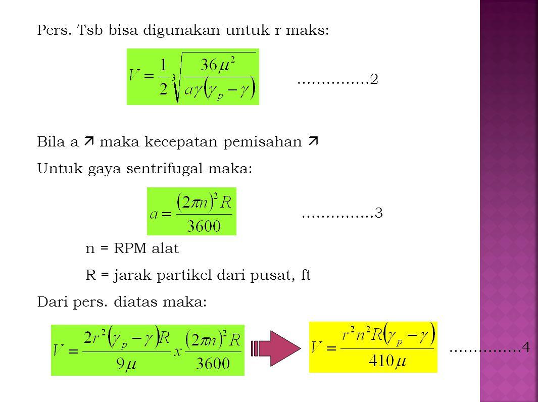 Pers. Tsb bisa digunakan untuk r maks: Bila a  maka kecepatan pemisahan  Untuk gaya sentrifugal maka: n = RPM alat R = jarak partikel dari pusat, ft