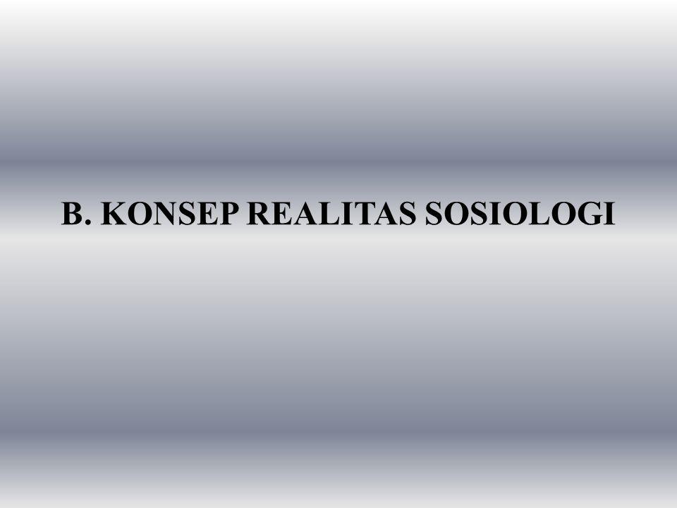 B. KONSEP REALITAS SOSIOLOGI