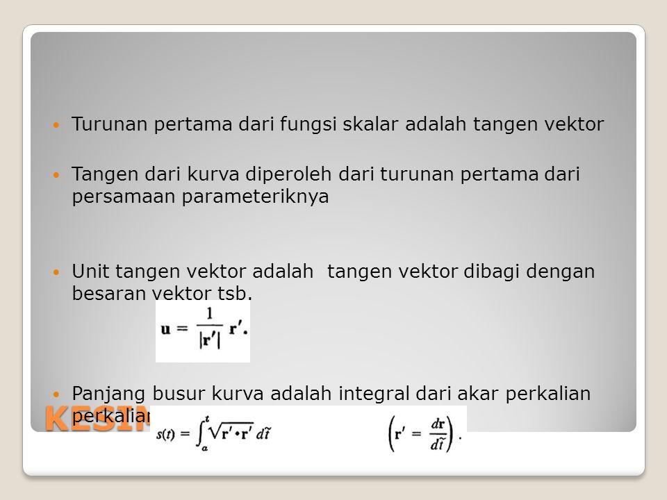 KESIMPULAN Turunan pertama dari fungsi skalar adalah tangen vektor Tangen dari kurva diperoleh dari turunan pertama dari persamaan parameteriknya Unit