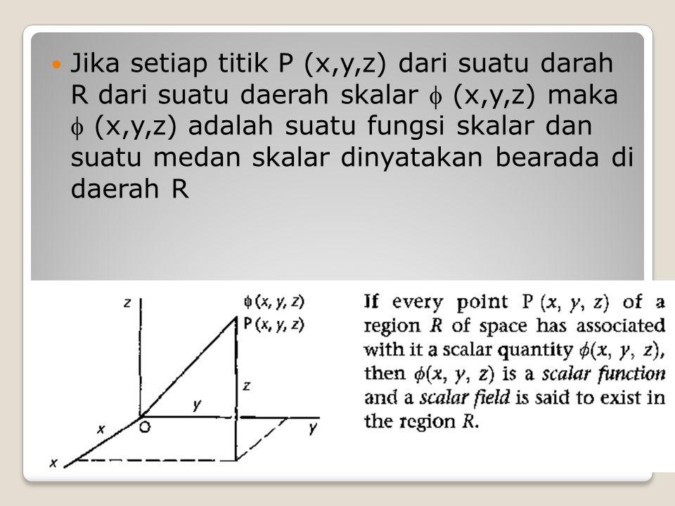 Jika setiap titik P (x,y,z) dari suatu darah R dari suatu daerah skalar  (x,y,z) maka  (x,y,z) adalah suatu fungsi skalar dan suatu medan skalar din