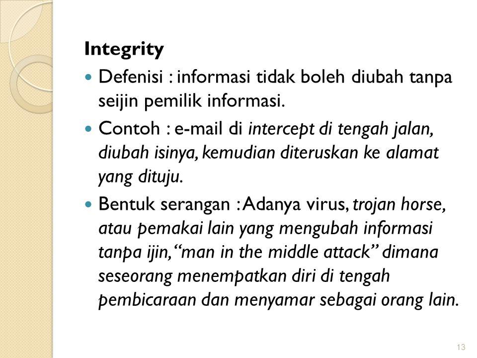 Integrity Defenisi : informasi tidak boleh diubah tanpa seijin pemilik informasi. Contoh : e-mail di intercept di tengah jalan, diubah isinya, kemudia