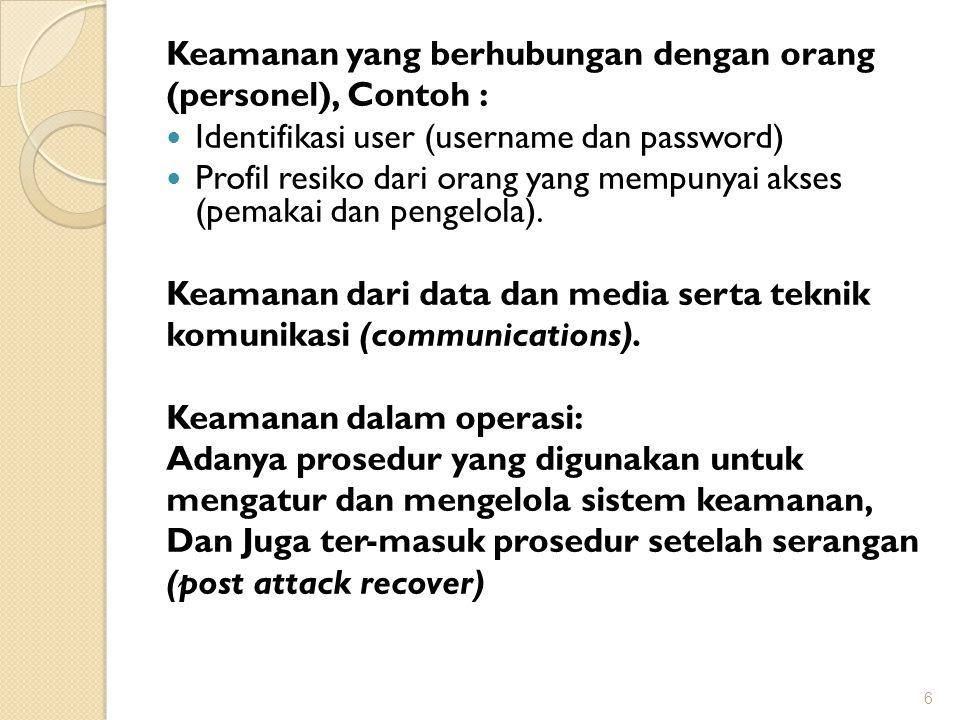 Keamanan yang berhubungan dengan orang (personel), Contoh : Identifikasi user (username dan password) Profil resiko dari orang yang mempunyai akses (p