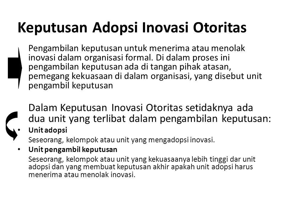 Keputusan Adopsi Inovasi Otoritas Pengambilan keputusan untuk menerima atau menolak inovasi dalam organisasi formal. Di dalam proses ini pengambilan k