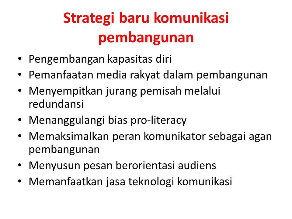 Strategi baru komunikasi pembangunan Pengembangan kapasitas diri Pemanfaatan media rakyat dalam pembangunan Menyempitkan jurang pemisah melalui redund