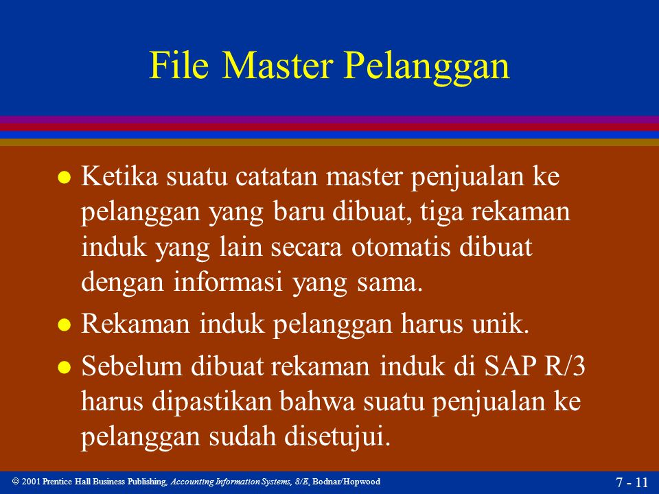  2001 Prentice Hall Business Publishing, Accounting Information Systems, 8/E, Bodnar/Hopwood 7 - 11 File Master Pelanggan l Ketika suatu catatan mast