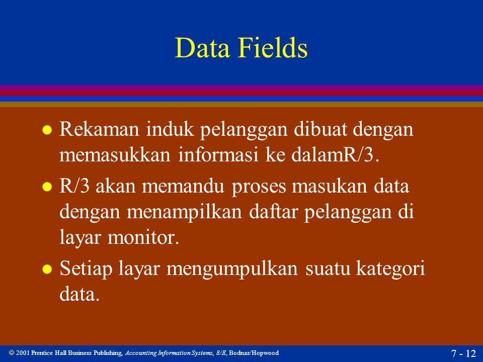  2001 Prentice Hall Business Publishing, Accounting Information Systems, 8/E, Bodnar/Hopwood 7 - 12 Data Fields l Rekaman induk pelanggan dibuat deng