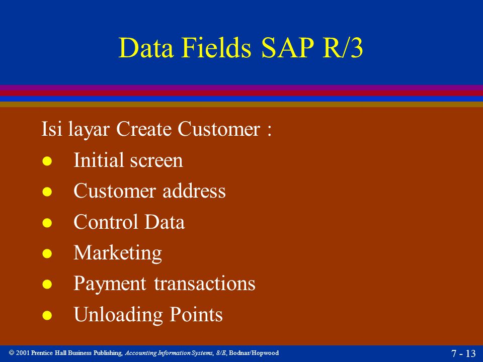  2001 Prentice Hall Business Publishing, Accounting Information Systems, 8/E, Bodnar/Hopwood 7 - 13 Data Fields SAP R/3 Isi layar Create Customer : l