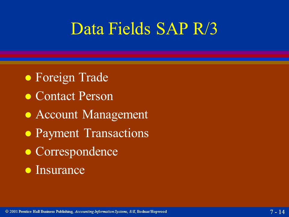  2001 Prentice Hall Business Publishing, Accounting Information Systems, 8/E, Bodnar/Hopwood 7 - 14 Data Fields SAP R/3 l Foreign Trade l Contact Per
