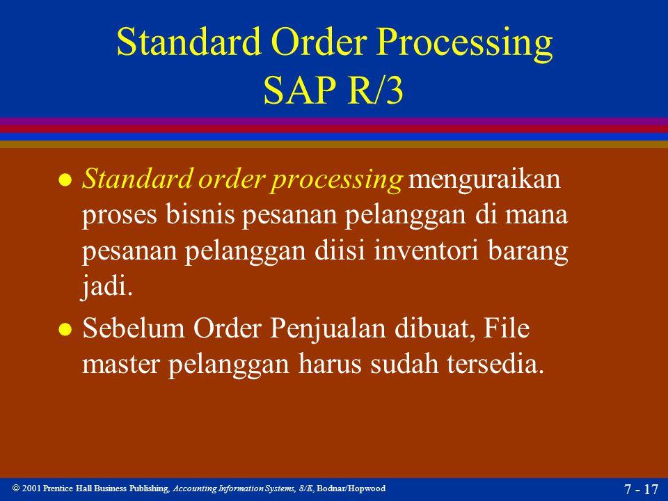  2001 Prentice Hall Business Publishing, Accounting Information Systems, 8/E, Bodnar/Hopwood 7 - 17 Standard Order Processing SAP R/3 l Standard orde