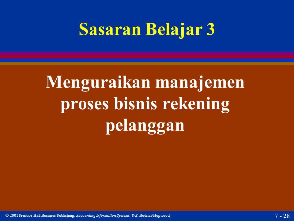  2001 Prentice Hall Business Publishing, Accounting Information Systems, 8/E, Bodnar/Hopwood 7 - 28 Sasaran Belajar 3 Menguraikan manajemen proses bi