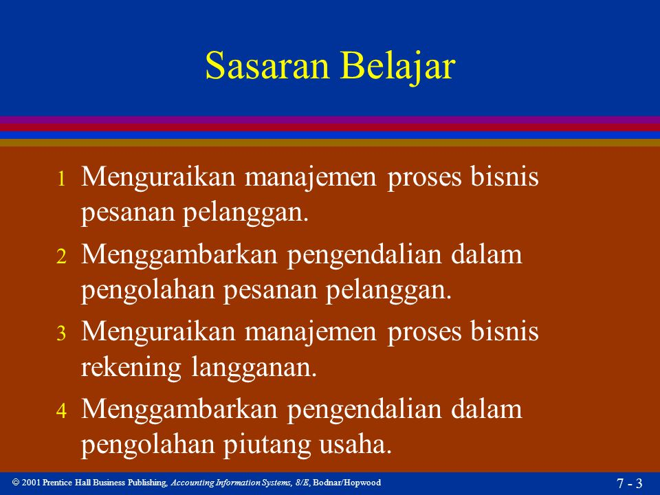  2001 Prentice Hall Business Publishing, Accounting Information Systems, 8/E, Bodnar/Hopwood 7 - 3 Sasaran Belajar 1 Menguraikan manajemen proses bis