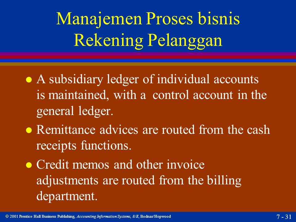 2001 Prentice Hall Business Publishing, Accounting Information Systems, 8/E, Bodnar/Hopwood 7 - 31 Manajemen Proses bisnis Rekening Pelanggan l A su