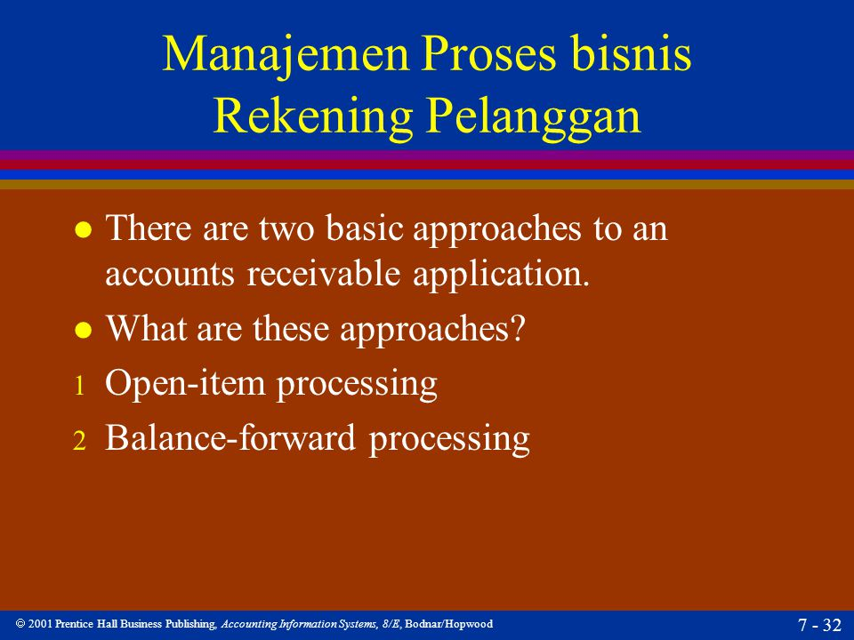  2001 Prentice Hall Business Publishing, Accounting Information Systems, 8/E, Bodnar/Hopwood 7 - 32 Manajemen Proses bisnis Rekening Pelanggan l Ther