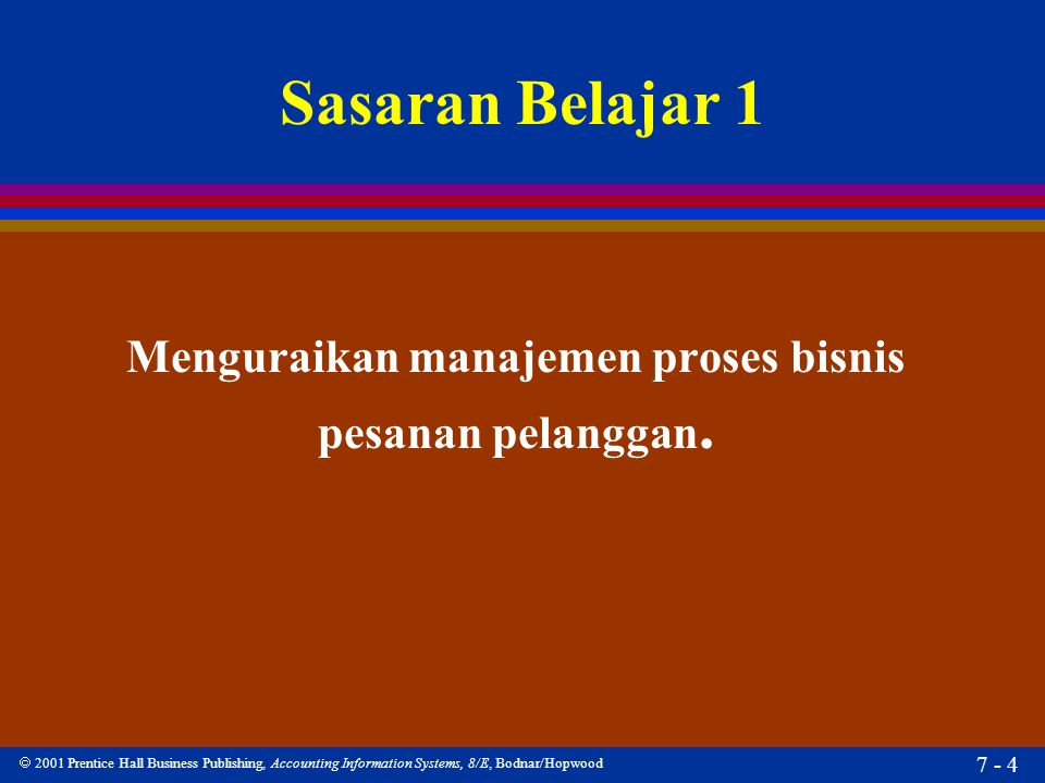  2001 Prentice Hall Business Publishing, Accounting Information Systems, 8/E, Bodnar/Hopwood 7 - 4 Sasaran Belajar 1 Menguraikan manajemen proses bis