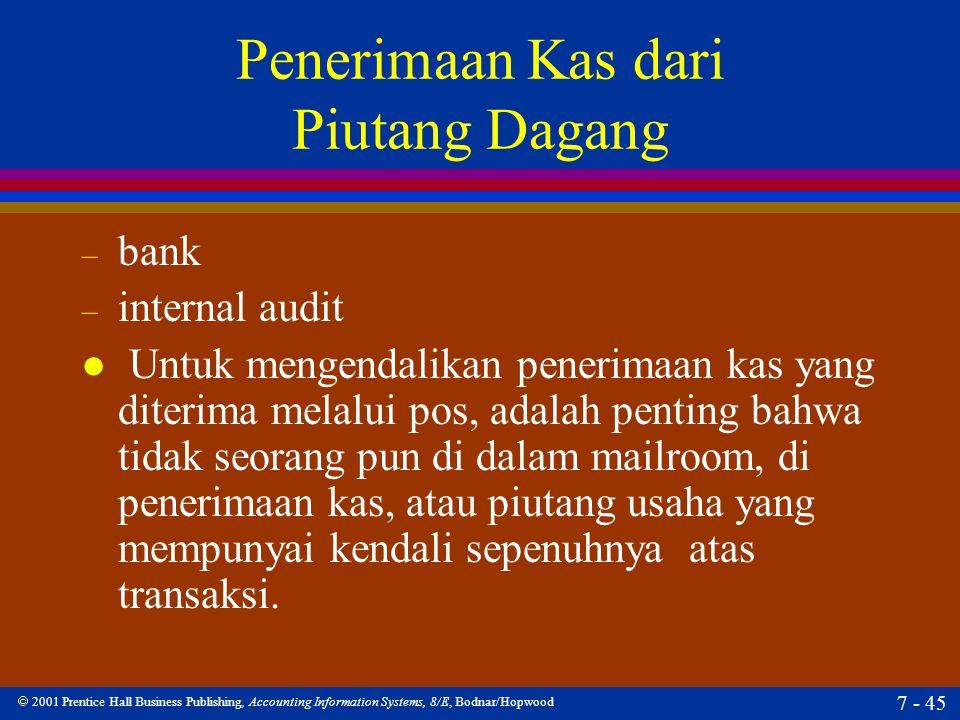  2001 Prentice Hall Business Publishing, Accounting Information Systems, 8/E, Bodnar/Hopwood 7 - 45 Penerimaan Kas dari Piutang Dagang – bank – inter
