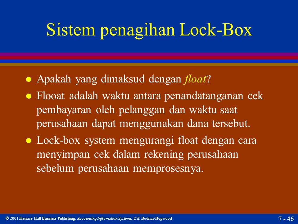  2001 Prentice Hall Business Publishing, Accounting Information Systems, 8/E, Bodnar/Hopwood 7 - 46 Sistem penagihan Lock-Box l Apakah yang dimaksud