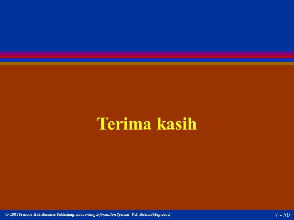  2001 Prentice Hall Business Publishing, Accounting Information Systems, 8/E, Bodnar/Hopwood 7 - 50 Terima kasih