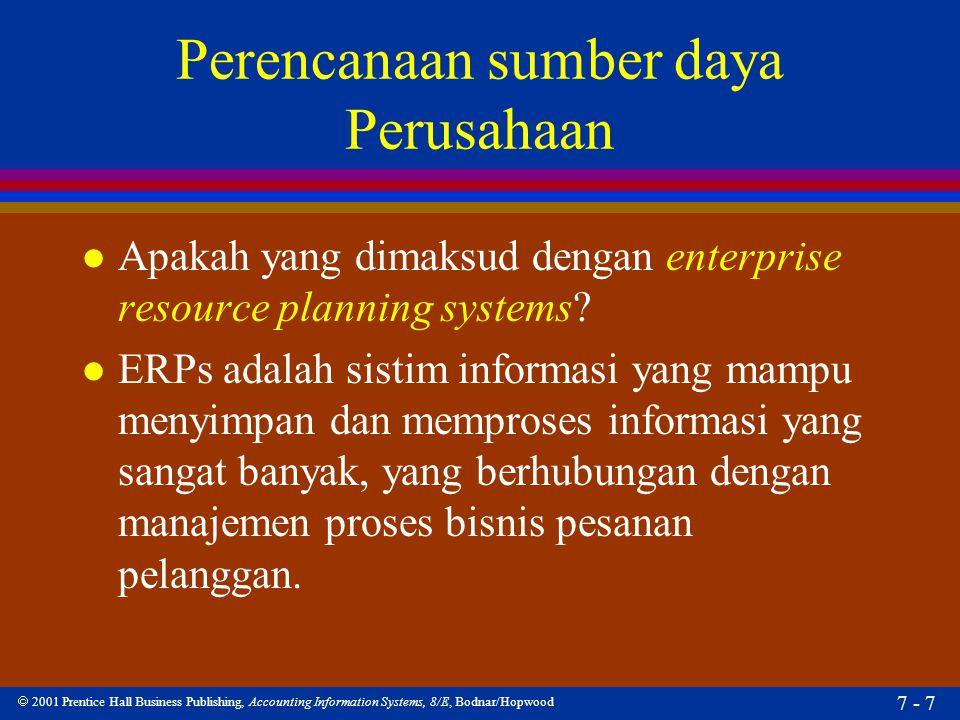  2001 Prentice Hall Business Publishing, Accounting Information Systems, 8/E, Bodnar/Hopwood 7 - 8 Perencanaan sumber daya Perusahaan l Apakah SAP R/3 itu.