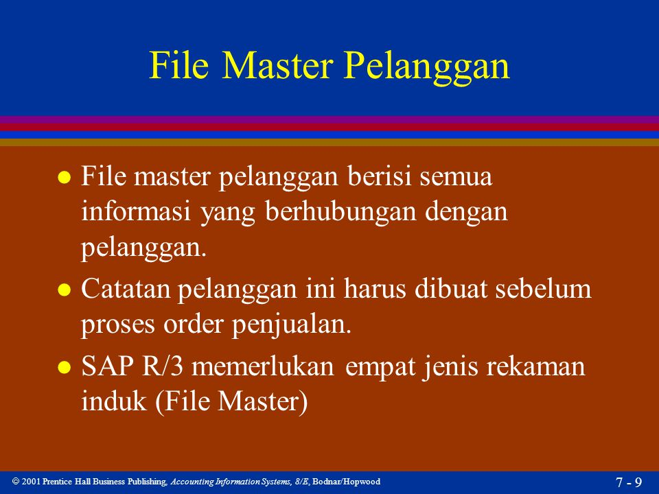  2001 Prentice Hall Business Publishing, Accounting Information Systems, 8/E, Bodnar/Hopwood 7 - 9 File Master Pelanggan l File master pelanggan beri