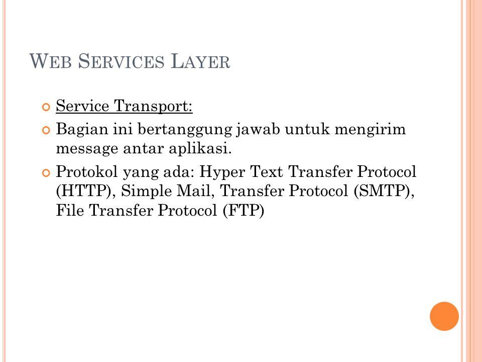 W EB S ERVICES L AYER Service Transport: Bagian ini bertanggung jawab untuk mengirim message antar aplikasi.
