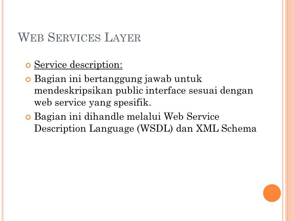 W EB S ERVICES L AYER Service description: Bagian ini bertanggung jawab untuk mendeskripsikan public interface sesuai dengan web service yang spesifik