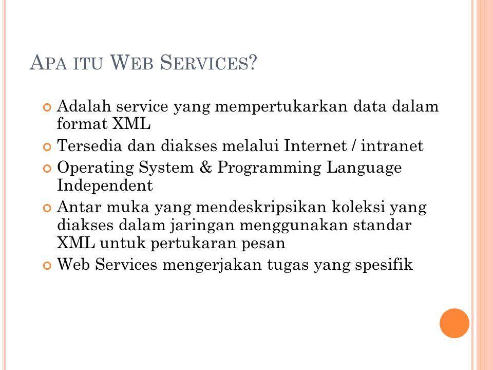 W EB S ERVICES L AYER Service description: Bagian ini bertanggung jawab untuk mendeskripsikan public interface sesuai dengan web service yang spesifik.
