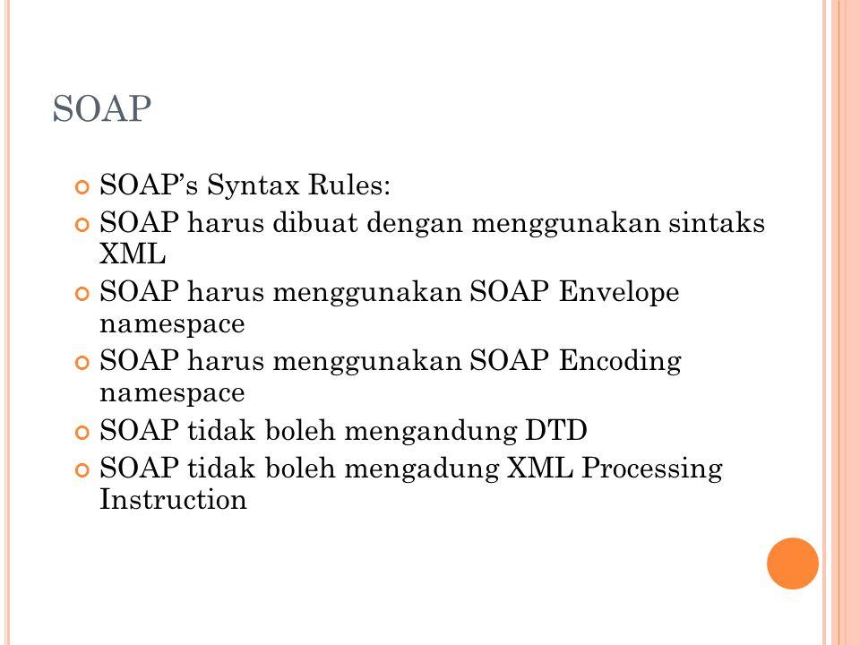 SOAP SOAP's Syntax Rules: SOAP harus dibuat dengan menggunakan sintaks XML SOAP harus menggunakan SOAP Envelope namespace SOAP harus menggunakan SOAP Encoding namespace SOAP tidak boleh mengandung DTD SOAP tidak boleh mengadung XML Processing Instruction