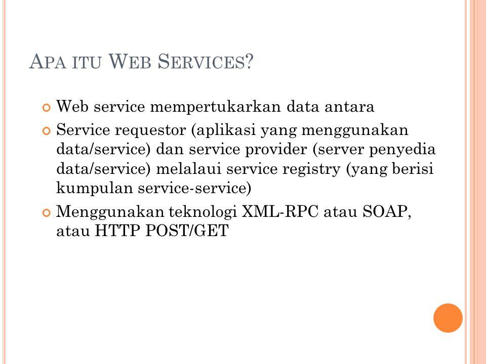 A PA ITU W EB S ERVICES ? Web service mempertukarkan data antara Service requestor (aplikasi yang menggunakan data/service) dan service provider (serv