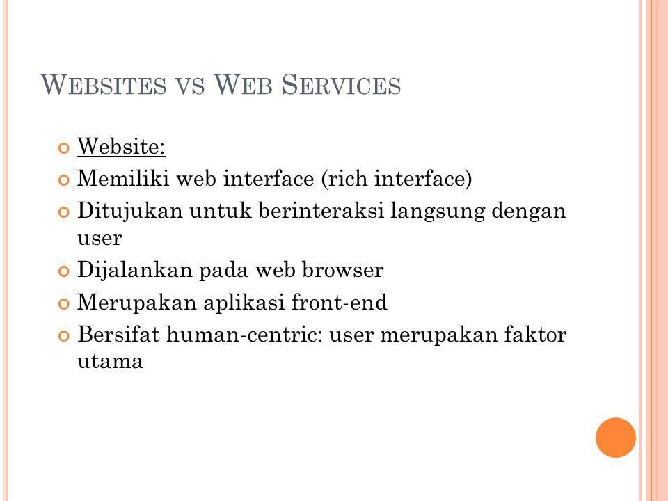 W EBSITES VS W EB S ERVICES Web Services: Tidak memiliki interface yang bagus Dibuat untuk berinteraksi langsung dengan aplikasi yang lain yg berbeda OS / Arsitektur sekalipun, bukan dengan user back-end application Application-centric: komunikasi terjadi antar aplikasi