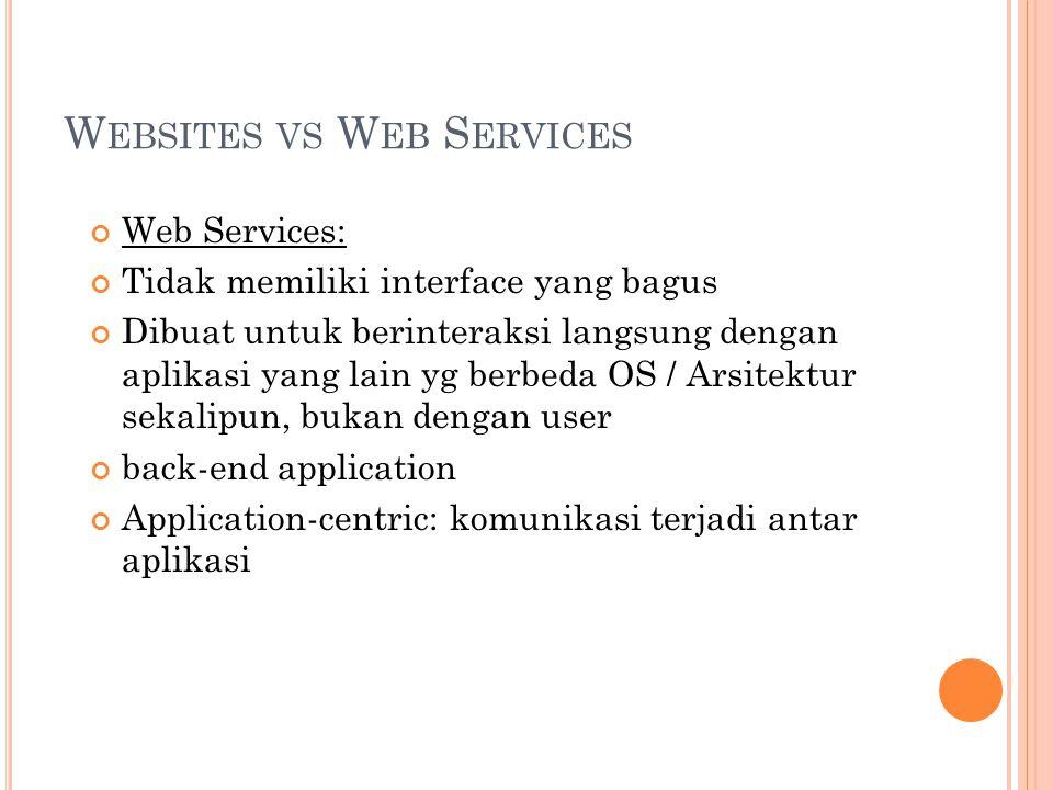 W EB S ERVICES Web service harus self-describing : jika kita membuat web service, kita harus juga mempublikasikan public interface ke service tersebut Minimalnya, service harus memiliki human- readable documentation sehingga developer lain dapat mengintegrasikan aplikasinya dengan web service yang kita buat