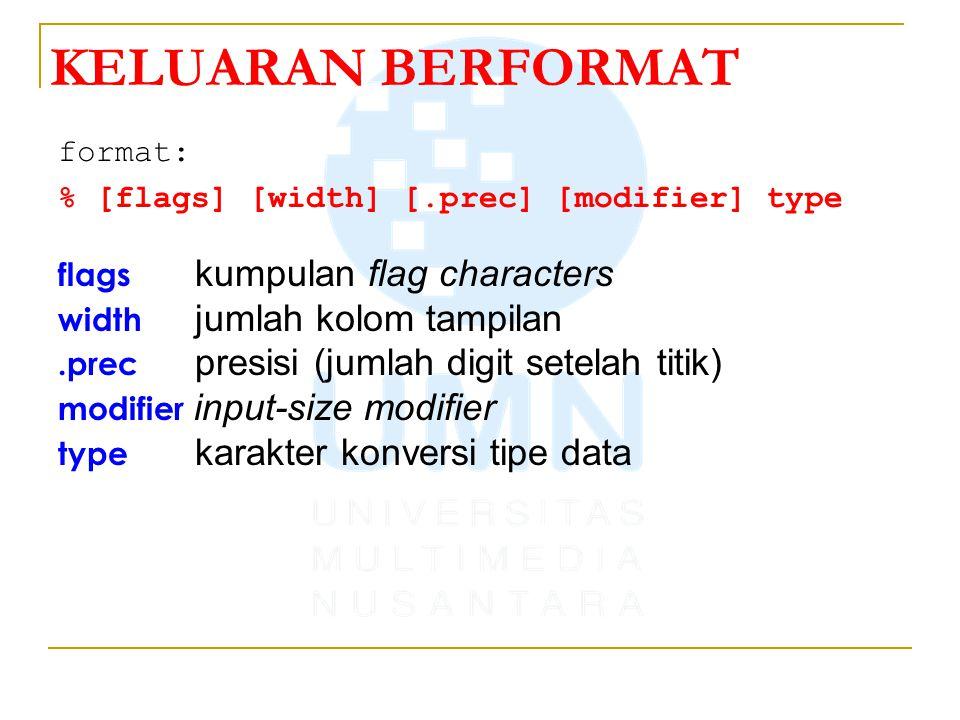 format: % [flags] [width] [.prec] [modifier] type flags kumpulan flag characters width jumlah kolom tampilan.prec presisi (jumlah digit setelah titik) modifier input-size modifier type karakter konversi tipe data KELUARAN BERFORMAT
