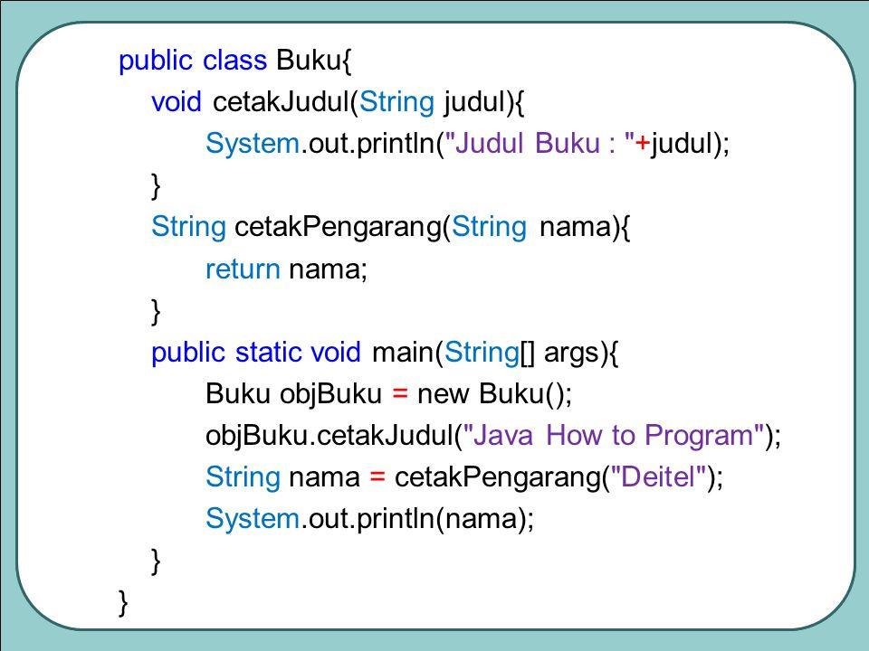 public class Buku{ void cetakJudul(String judul){ System.out.println( Judul Buku : +judul); } String cetakPengarang(String nama){ return nama; } public static void main(String[] args){ Buku objBuku = new Buku(); objBuku.cetakJudul( Java How to Program ); String nama = cetakPengarang( Deitel ); System.out.println(nama); }