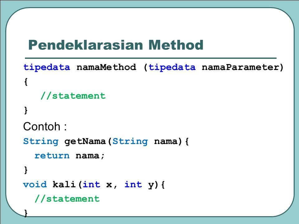 Recursion Recursive method Memanggil dirinya sendiri (directly or indirectly) Method membagi masalah Base case Masalah yang lebih simple Sampai ketemu dengan base case