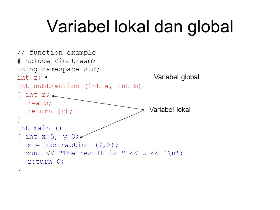 Variabel lokal dan global // function example #include using namespace std; int z; int subtraction (int a, int b) { int r; r=a-b; return (r); } int ma