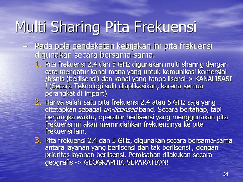 31 Multi Sharing Pita Frekuensi –Pada pola pendekatan kebijakan ini pita frekuensi digunakan secara bersama-sama. 1. Pita frekuensi 2.4 dan 5 GHz digu