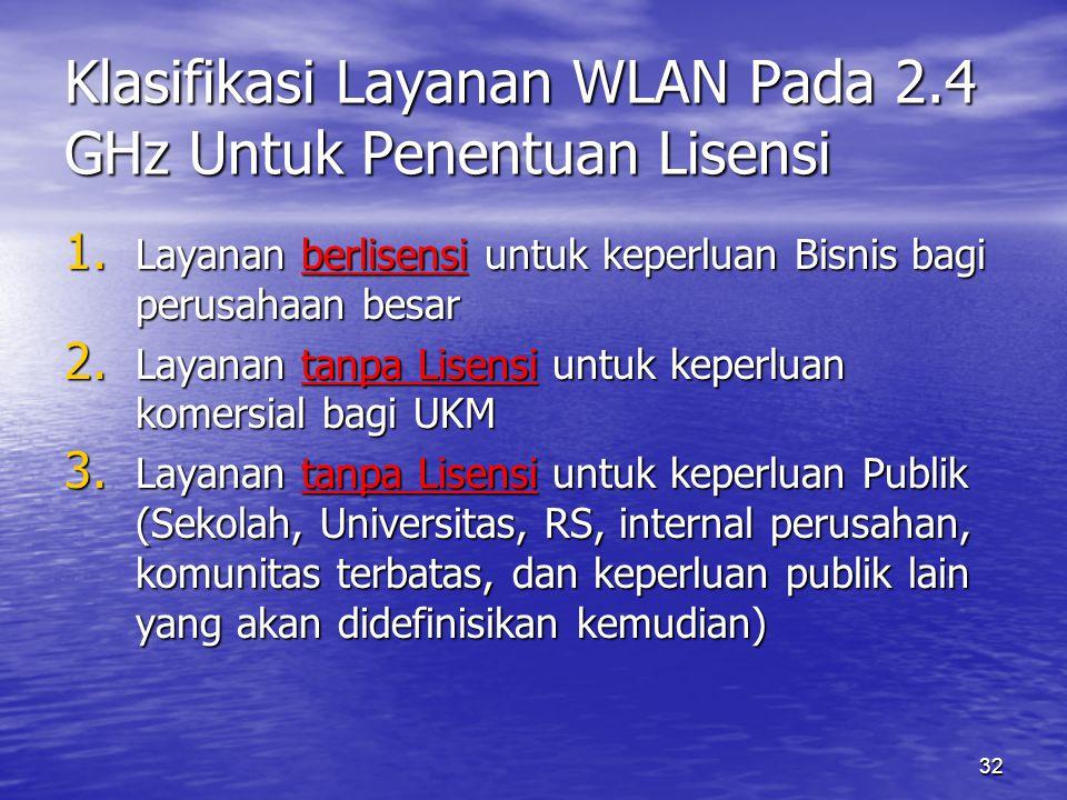 32 Klasifikasi Layanan WLAN Pada 2.4 GHz Untuk Penentuan Lisensi 1.