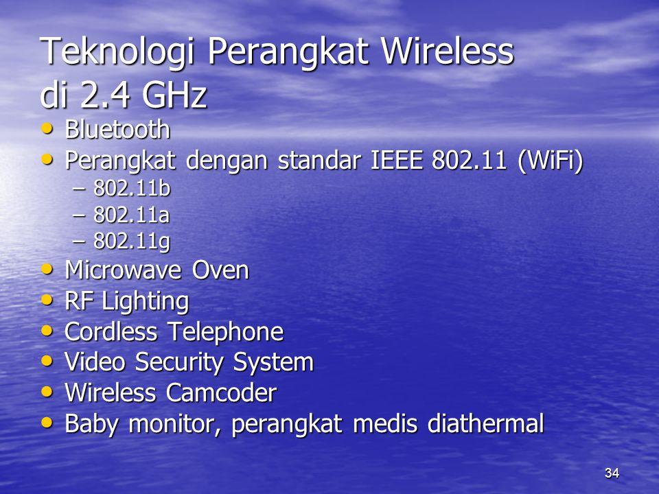 34 Teknologi Perangkat Wireless di 2.4 GHz Bluetooth Bluetooth Perangkat dengan standar IEEE 802.11 (WiFi) Perangkat dengan standar IEEE 802.11 (WiFi)