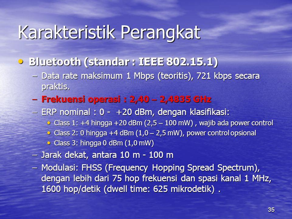 35 Karakteristik Perangkat Bluetooth (standar : IEEE 802.15.1) Bluetooth (standar : IEEE 802.15.1) –Data rate maksimum 1 Mbps (teoritis), 721 kbps secara praktis.