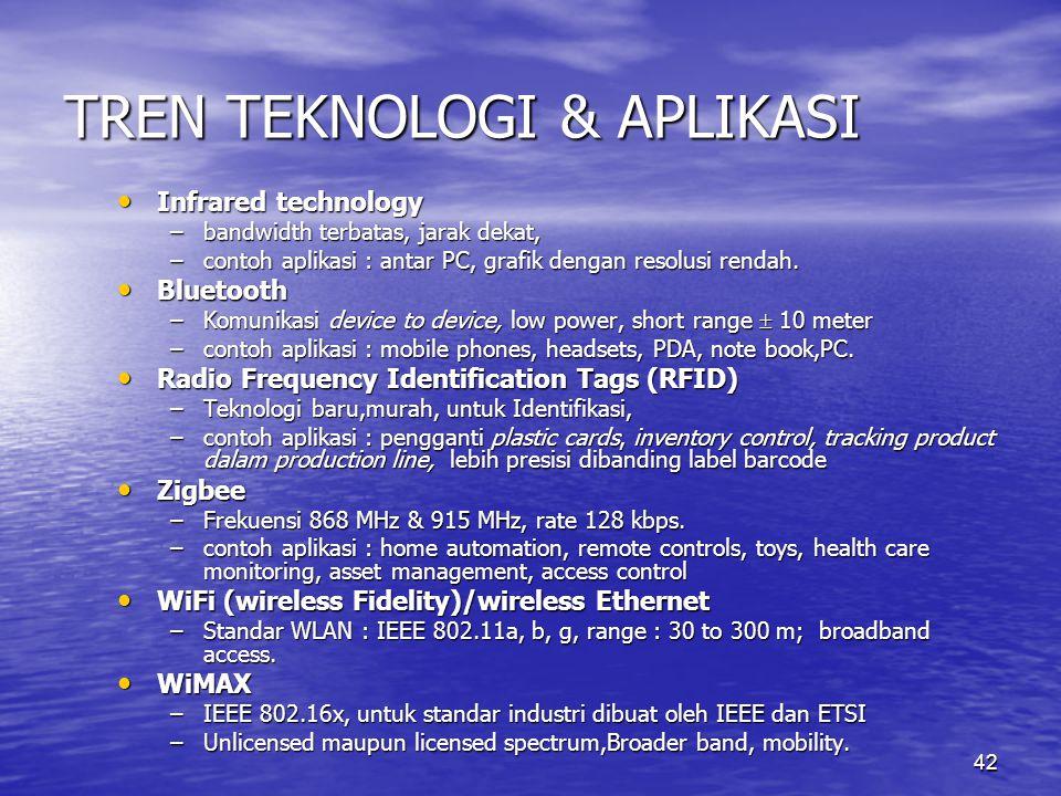 42 TREN TEKNOLOGI & APLIKASI Infrared technology Infrared technology –bandwidth terbatas, jarak dekat, –contoh aplikasi : antar PC, grafik dengan reso