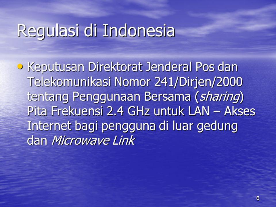 6 Regulasi di Indonesia Keputusan Direktorat Jenderal Pos dan Telekomunikasi Nomor 241/Dirjen/2000 tentang Penggunaan Bersama (sharing) Pita Frekuensi 2.4 GHz untuk LAN – Akses Internet bagi pengguna di luar gedung dan Microwave Link Keputusan Direktorat Jenderal Pos dan Telekomunikasi Nomor 241/Dirjen/2000 tentang Penggunaan Bersama (sharing) Pita Frekuensi 2.4 GHz untuk LAN – Akses Internet bagi pengguna di luar gedung dan Microwave Link