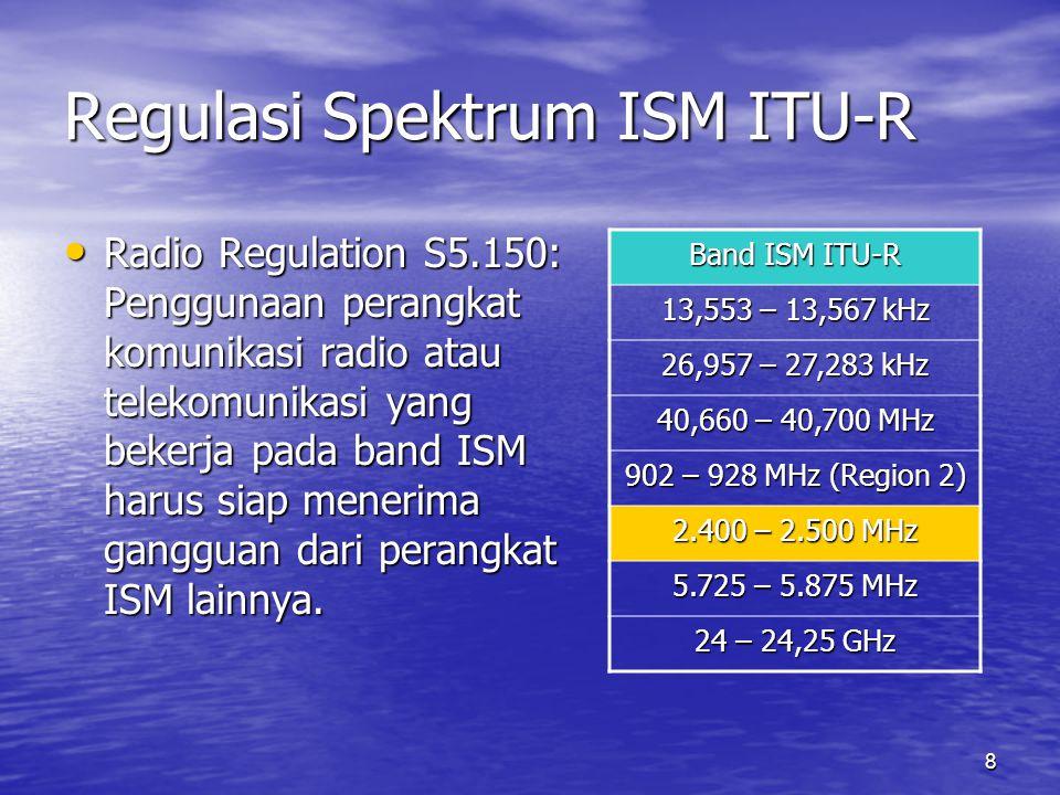 9 Regulasi Spektrum ITU-R ITU-R tidak memberikan peraturan atau pembatasan apapun terhadap penggunaan frekuensi 2,4 GHz (ISM) untuk pemakaian komunikasi wireless unlicensed.