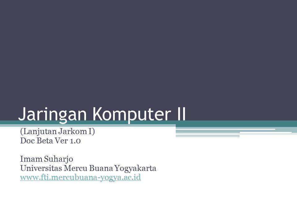 Jaringan Komputer II (Lanjutan Jarkom I) Doc Beta Ver 1.0 Imam Suharjo Universitas Mercu Buana Yogyakarta www.fti.mercubuana-yogya.ac.id