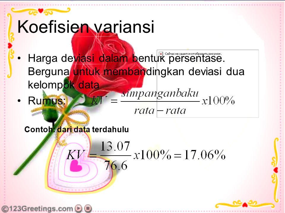 Koefisien variansi Harga deviasi dalam bentuk persentase. Berguna untuk membandingkan deviasi dua kelompok data Rumus: Contoh: dari data terdahulu