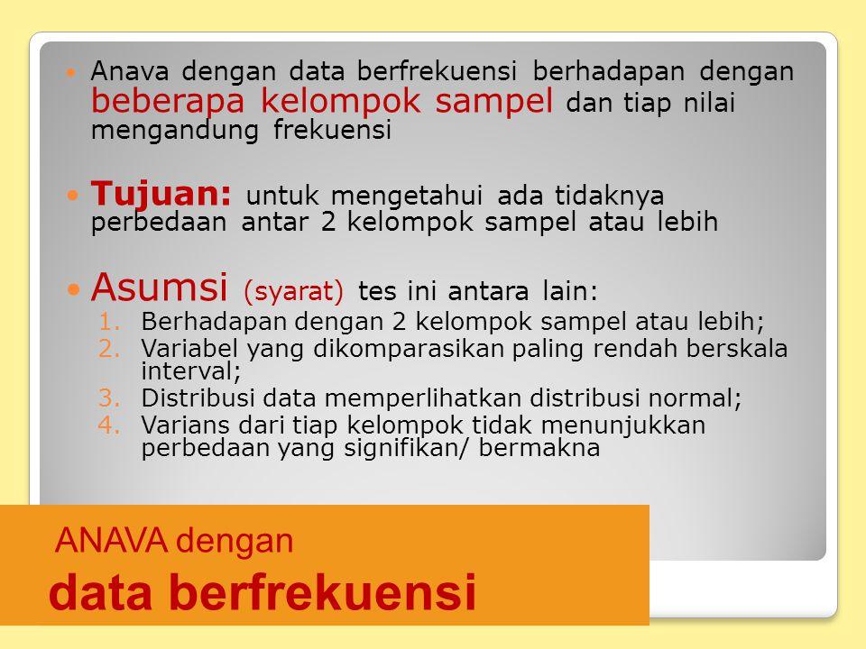 ANAVA dengan data berfrekuensi Anava dengan data berfrekuensi berhadapan dengan beberapa kelompok sampel dan tiap nilai mengandung frekuensi Tujuan: u
