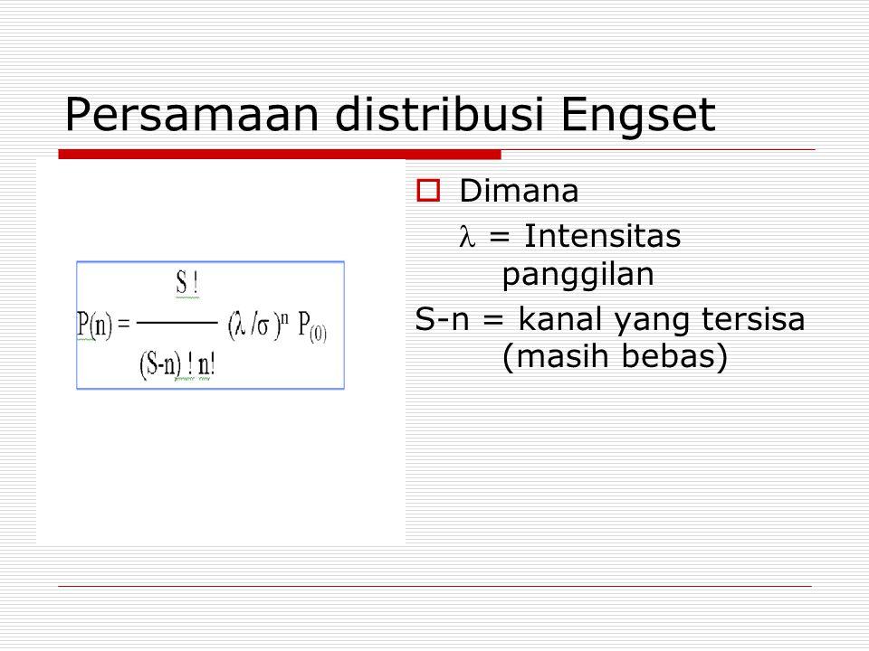 Persamaan distribusi Engset  Dimana = Intensitas panggilan S-n = kanal yang tersisa (masih bebas)