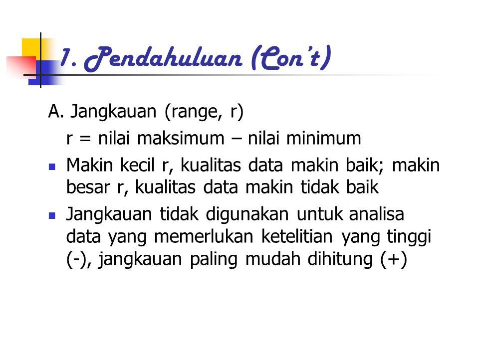 1. Pendahuluan (Con't) A. Jangkauan (range, r) r = nilai maksimum – nilai minimum Makin kecil r, kualitas data makin baik; makin besar r, kualitas dat
