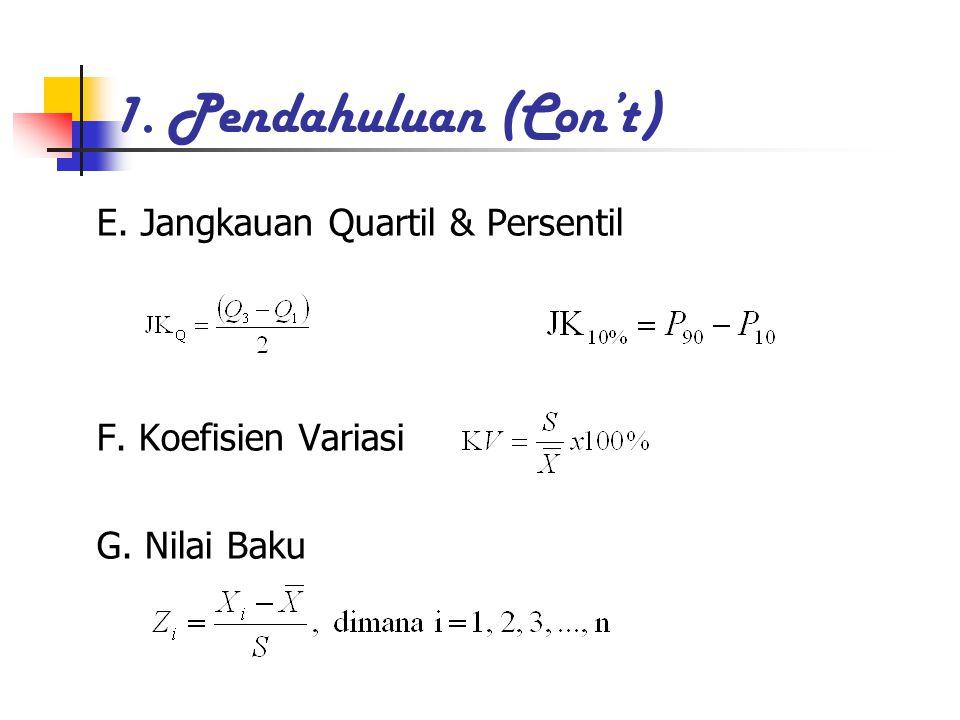 1. Pendahuluan (Con't) E. Jangkauan Quartil & Persentil F. Koefisien Variasi G. Nilai Baku