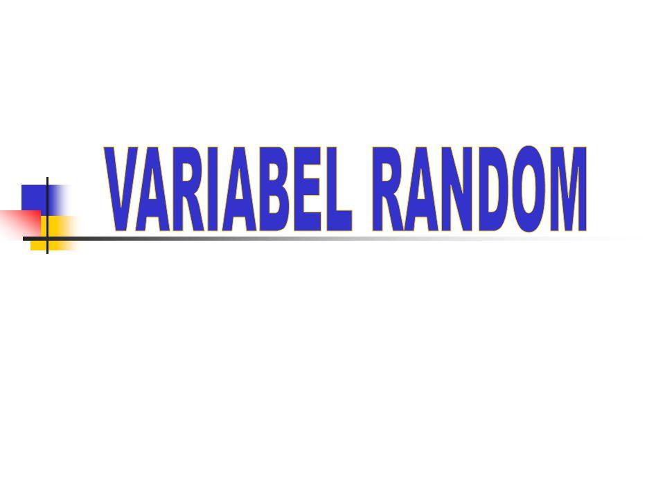 Definisi dan Contoh Var random X adalah fungsi dari S ruang sampel ke bilangan real R X : S  R Contoh : Menjawab soal multipel choice 2 kali S = {SS, SB, BS, BB} X : VR Banyaknya jawaban benar, maka X = {0,1,2} BB SB BS SS 0 1 2 RXS