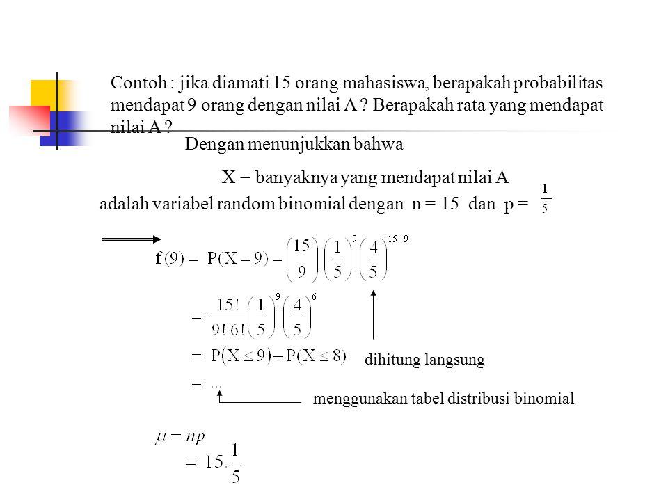 Contoh : jika diamati 15 orang mahasiswa, berapakah probabilitas mendapat 9 orang dengan nilai A ? Berapakah rata yang mendapat nilai A ? Dengan menun